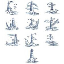 DELFT BLUE LIGHTHOUSE SCENES--    EMBROIDERED QUILT BLOCKS
