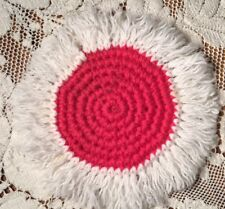 Handmade Crochet Set Of 6 Coasters Glass Cup Mug Bright Pink