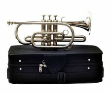 NEW HIGH QUALITY SOUND MADE OF PURE BRASS IN SILVER Bb FLAT CORNET + CASE+M/P