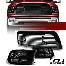 For 2010-2018 Dodge Ram 2500/3500 Black Quad Headlights nb+Big Horn Style Grille