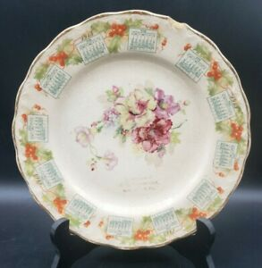 1913 Calendar Plate by McNicol Carnation Series Advertising Willow HIll Pa