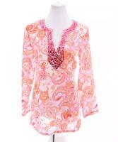 NWOT Mercer & Madison Womens 100% Linen Sequin Tunic Top Paisley Print Sz Medium