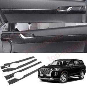 For Hyundai Palisade 2020-2022 ABS Carbon Inner Door Panel Strip Cover Trim 4PCS
