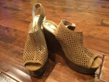 "Coach Tan ""Chasity"" Perforated Mesh Slingback Wedge Platform Heels, Size 8.5"