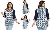 UK STOCK - BLUE WOMEN FASHION INDIAN KURTA KURTI TUNIC TOP SHIRT MM143
