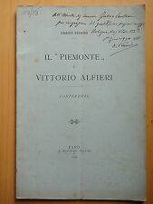 """1906-IL """"PIEMONTE"""" E VITTORIO ALFIERI. CONFERENZE-Autografo OMERO PIERINI"""