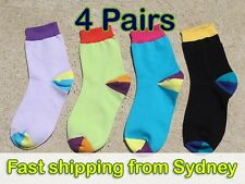 Mixed Colour Women Socks - Pastel Violet Purple Turquoise Lime Green Black