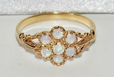 ANTIQUE 9 CT YELLOW GOLD ON SILVER OPAL CLUSTER RING - SIZE Q