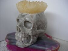 crystal skull with calcite crystal cluster head
