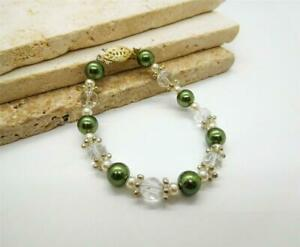 """Green White Glass Pearl Crystal Silver Tone Bead 7"""" Bracelet A38"""