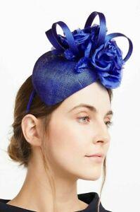John Lewis Sam Pillbox Fascinator loop & rose Cobalt Blue Wedding Races occasion