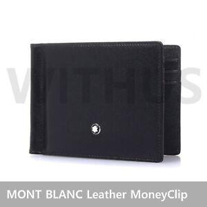 MONT BLANC 5525 MoneyClip Meisterstuck Wallet 6CC Leather Black - FeDex Tracking