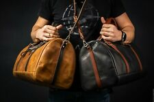 Leather Weekend Bag by POHVALIN