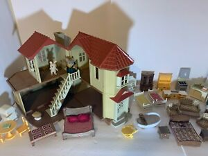 Calico Critters Lil Woodzeez Red Roof House Furniture Lot 33+ Pieces