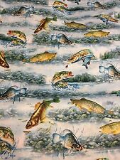 So Many Fish, So Little Time 100% Cotton Fabric by the yard Water & mixed Fish