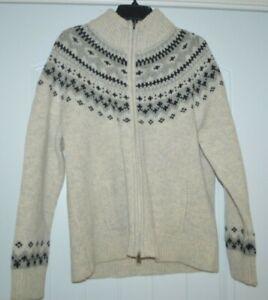 New LL BEAN Lamb's Wool Winter Cardigan Men's Sweater Zipper front Cream XL
