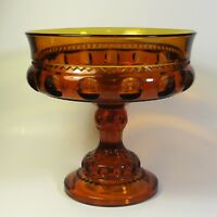 """Indiana Colony Kings Color CROWN Amber Large 7"""" Glass Compote Dish Pedestal Bowl"""