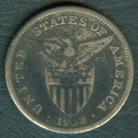 1908-S US Philippines 1 Peso United States of America Silver Coin - Stock #F4