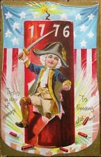 Independence Day/July 4th 1910 Postcard w/Firecracker - Embossed, Color Litho