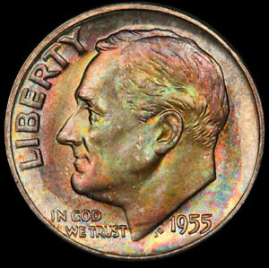 MS66 1955 10C Roosevelt Silver Dime, PCGS Secure- Pretty Rainbow Toned