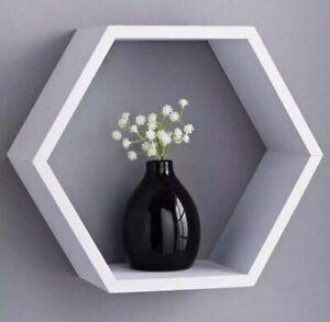 NEW Hexagonal Floating Wall Shelf Shelves Space Storage Home Decor WHITE