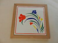 White Ceramic Tile Trivet or Wall Hanging in Wood Frame from Salera Flowers