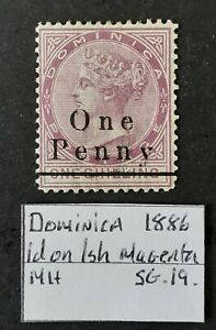 Dominica 1886 1d on 1 Shilling Magenta SG19 MH