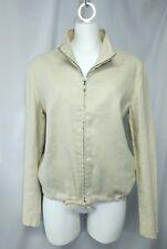 Ann Taylor Women's Light Beige Khaki Linen Blend Lined Zip Jacket Sz Medium