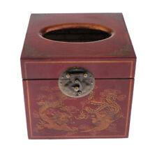 MagiDeal Vintage Tissue Box Cover Wooden Square Tissue Box Holder/Dispenser