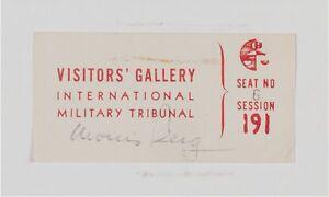 Moe Berg Signed 1946 WW2 Nazi Nuremberg Trials Ticket PSA DNA Catcher Was A Spy