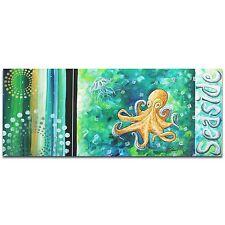 Contemporary Beach Decor Coastal Bathroom Art Octopus Painting Sea Life Artwork