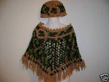Boutique Handmade Crochet Camo Poncho Set- sz 3t-6 x