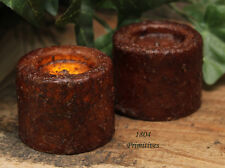 2 Petite Grungy Waxed VOTIVE Candles ~ Burnt Mustard / Cinnamon