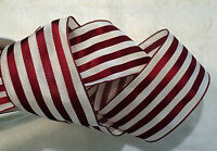 """2""""  FRENCH TAFFETA RED AND WHITE STRIPE RIBBON - WIRED - BY THE YARD"""