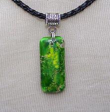 GREEN SEA SEDIMENT BEAD  ON BLACK  CORD NECKLACE   handmade