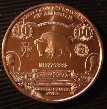 1 OZ COPPER ROUND 1901 $10 BISON BANK NOTE DESIGN