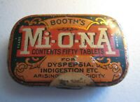 BOOTH'S Mi-O-NA Miona Vintage Antique Medical Medicine EMPTY Tin Buffalo NY 50c