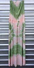 GYPSY 05 Strapless Pink Green Tie Dye Silk Boho Maxi Dress
