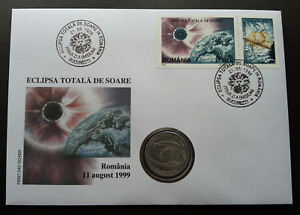 [SJ] Romania Total Eclipse 1999 Astronomy Science Space FDC (coin cover)