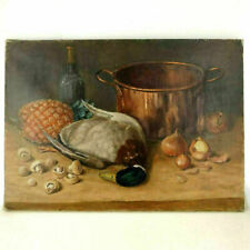 French Kitchen Still Life Oil Painting Signed Raillet Copper Pot Duck Pineapple