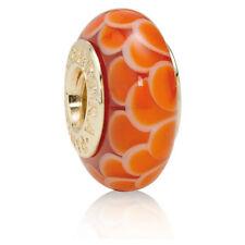 PANDORA | 14K GOLD ORANGE LOTUS MURANO CHARM *NEW* Authentic 750502 RETIRED USA