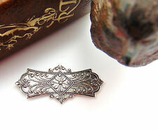 ANTIQUE SILVER Embossed Ornate Bar Plate Stamping ~ Finding Jewelry (CB-3023)