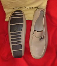 Louis Vuitton Italy Beige Leather Lombok Loafers Driving Shoes LV 12 US 13