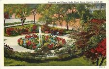 Joliet Illinois~Court House Square~Fountain & Flower Beds~1940s Linen Postcard