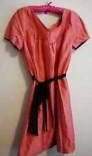 Woman's coral Nicole Fhari silk slub dress size 14