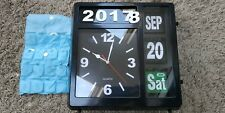 Big Flip Retro Wall Desk Clock Date Day Time Year Vintage Office Black