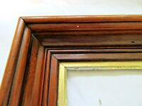RARE FITS 4.375 X 6.62 SMALL ANTIQUE WALNUT GOLD GILT PICTURE FRAME COUNTRY DEEP
