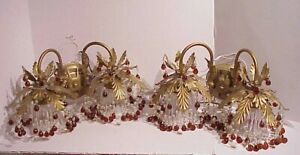 VINTAGE PR. HOLLYWOOD REGENCY STYLE DOUBLE WATERFALL WALL AMBER CRYSTALS SCONCES
