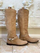 KAREN MILLEN Size 38 8 Suede Low Heel Knee High Boots Camel Brown
