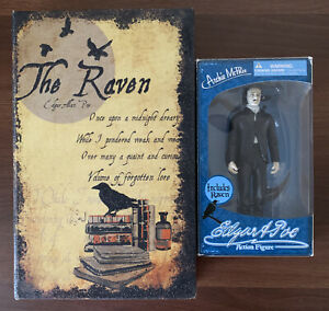Edgar Allen Poe Action Figure With Raven Archie McPhee 6inch With RARE LARGE BOX